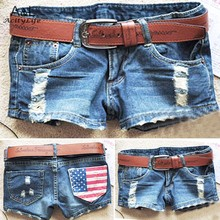 2014 New Fashion Women's Cool Denim Wash Distressed American Flag Low Waist Short Pants Jeans Trousers Hot Pant  #7 SV003071