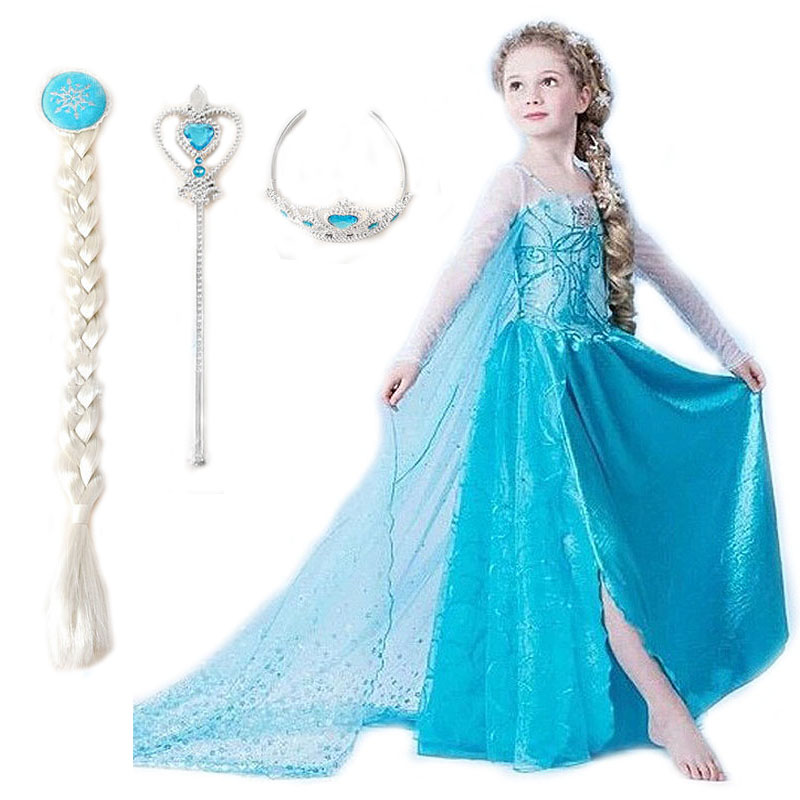 Cinderella Princess Character Dress Child 3t 4t 5 6 7: 2015 Elsa Dress Girls Costumes For Kids Snow Queen Cosplay