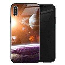 TOMKAS роскошный Космический Чехол для iPhone X XS MAX XR XS стеклянный силиконовый чехол для телефона iPhone 7 8 Plus Чехлы для iPhone 6 S 6s(Китай)