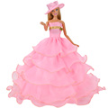Handmade Dolls Clothes Pink Lace Wedding Dress Party Gown For Barbie Dolls