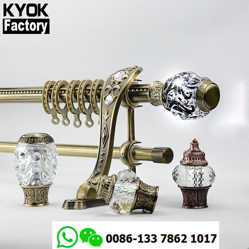 KYOK 28mm window antique brass twisted metal curtain rod wholesale ,metal curtain rod double