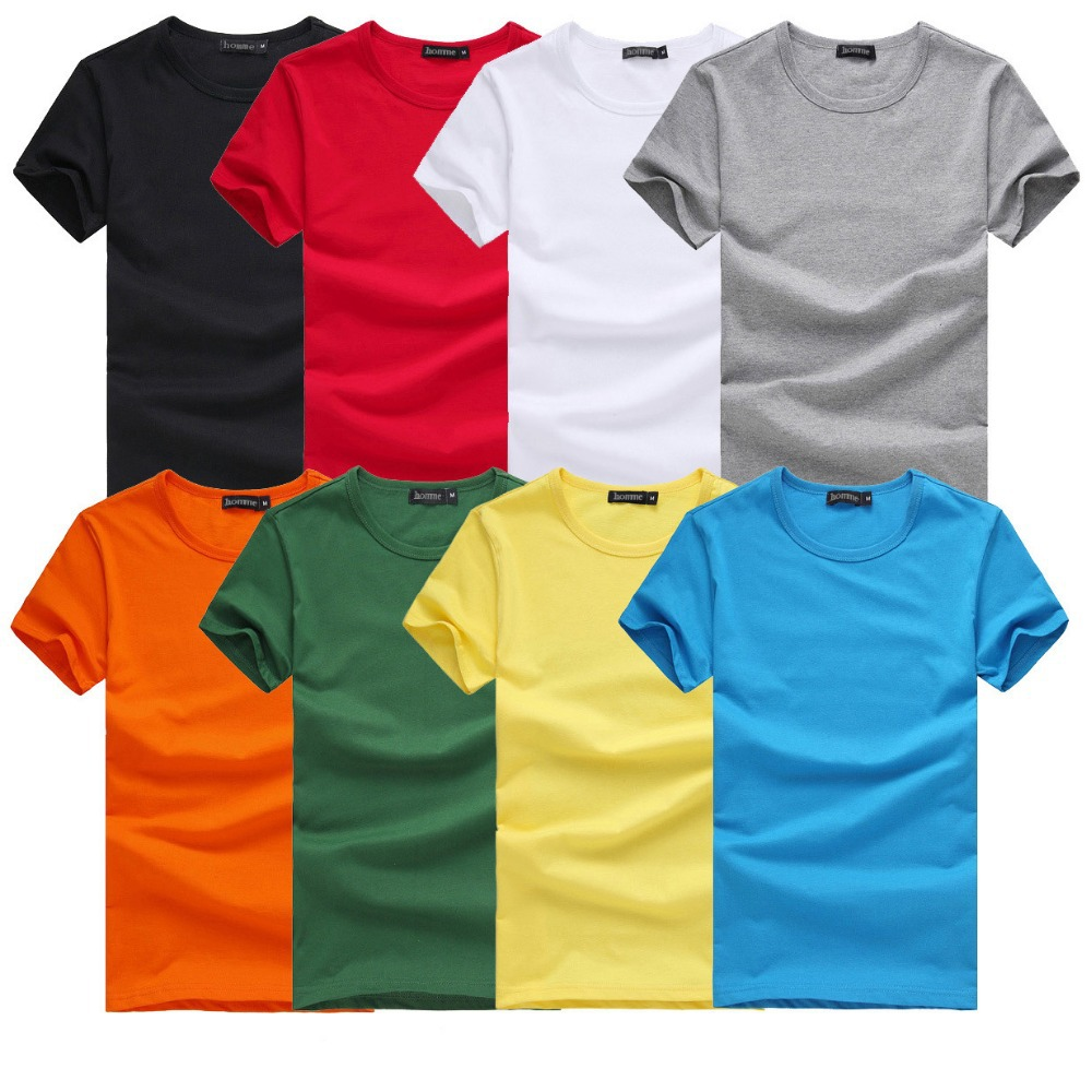 2016 Free Shipping new Slim dark green red orange blue gray black white T shirts Slim