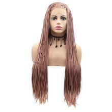 Женский парик с плетеными косами Sylvia, парик из длинных волос ручной работы, чистый красный/пастельный розовый/коричневый/светлый/розово-кра...(Китай)