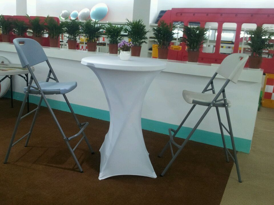 80cm round outdoor HDPE plastic high top bar tables ,foldable high top cocktail tables