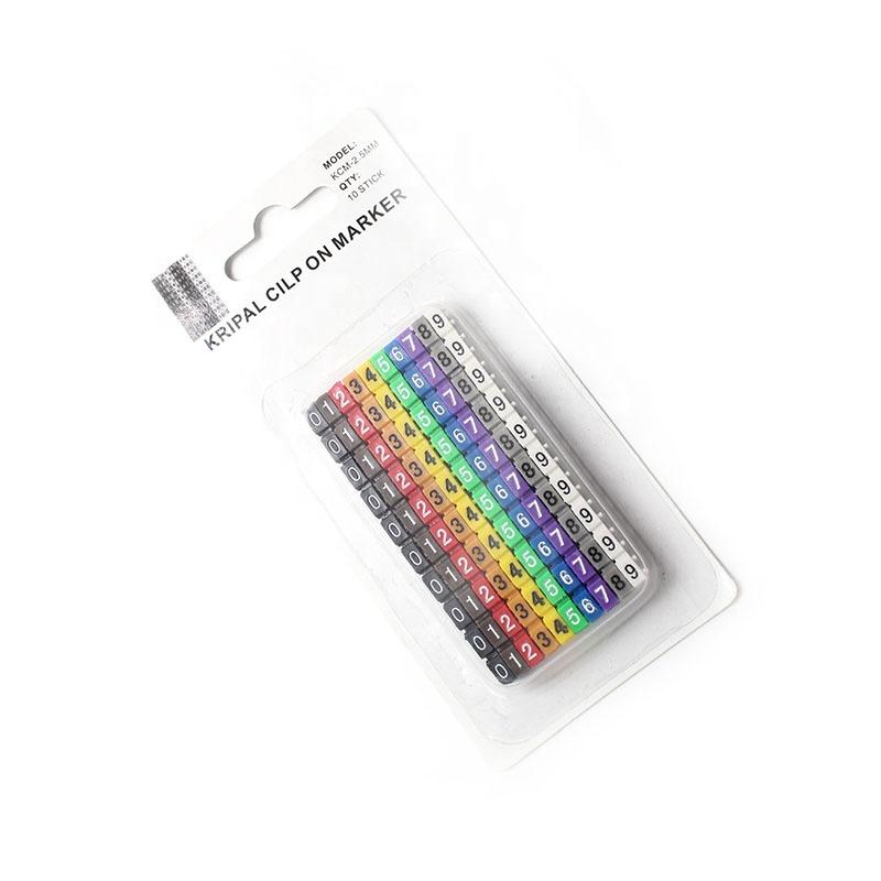 Пластиковый маркер для кабеля, ярлык, маркер для проводов, номер от 0 до 9, Размер кабеля, цветные маркеры для кабелей