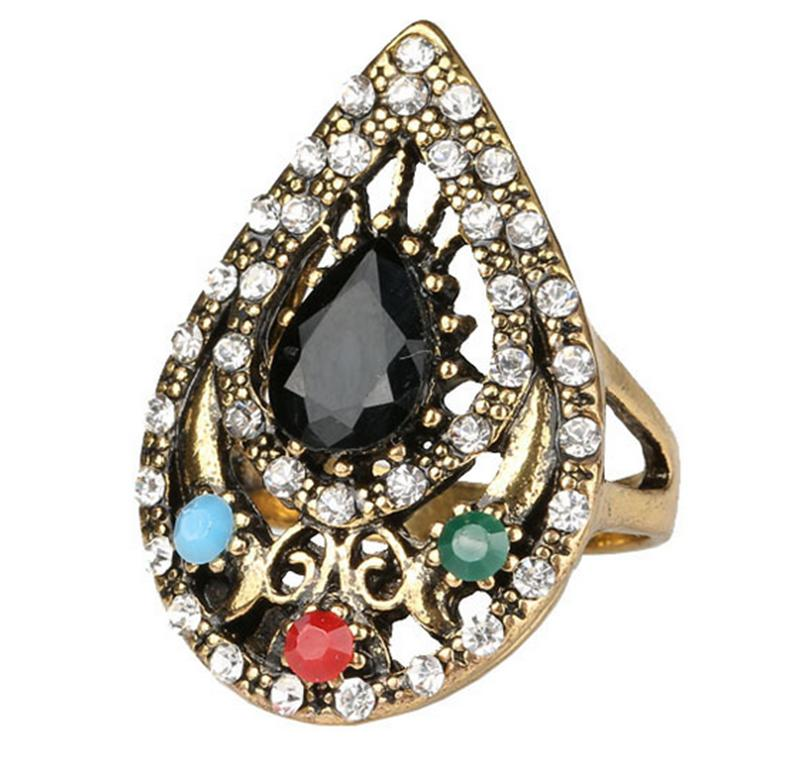 Retro India Ring Jewelry Plated Ancient Bronze Mosaic Rhinestone Hollow Out Carved Geometric Vintage Statement Womens