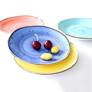 Hot sale oval shape water color fancy hotel & restaurant bistro crockery tableware porcelain ceramic dishes plates