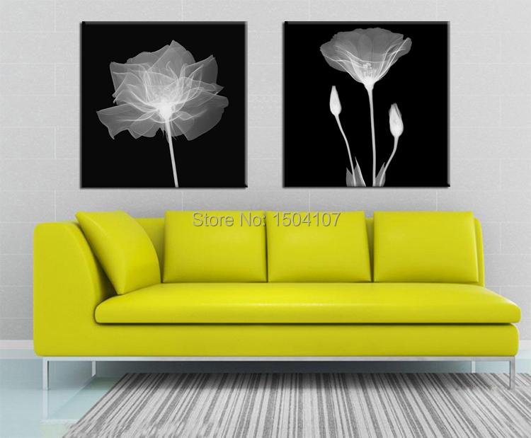 Minimalist wall art pictures canvas print flowers paintings home decorations 2 pcs/set