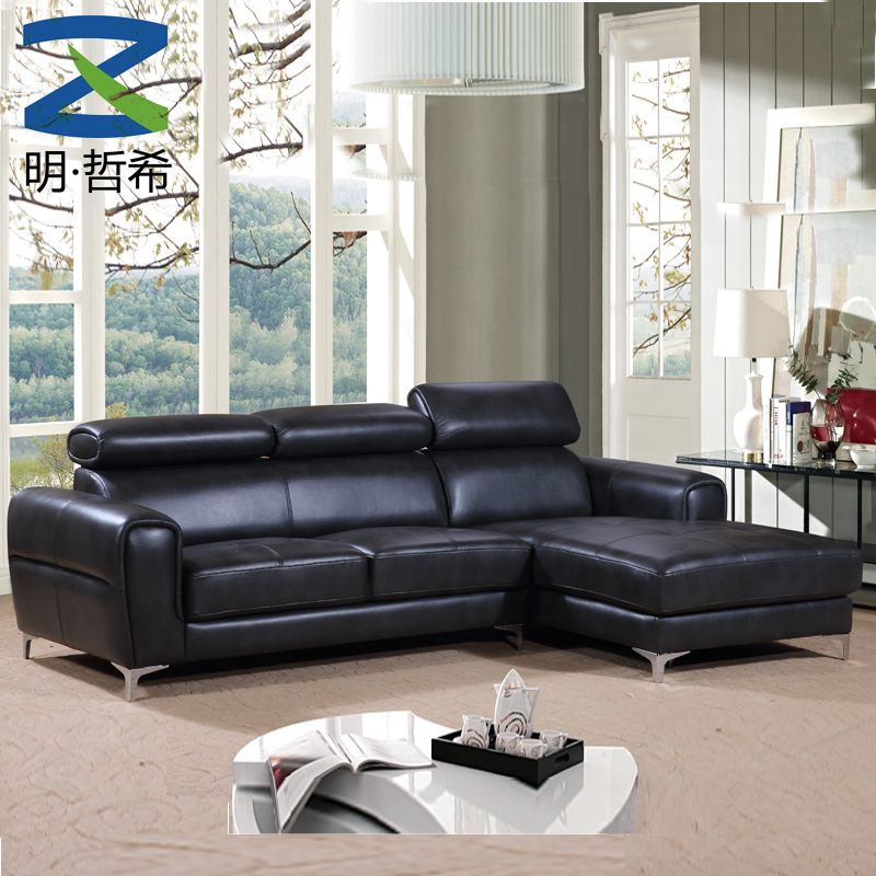 L shape living room leather sofa set for guangdong furniture house