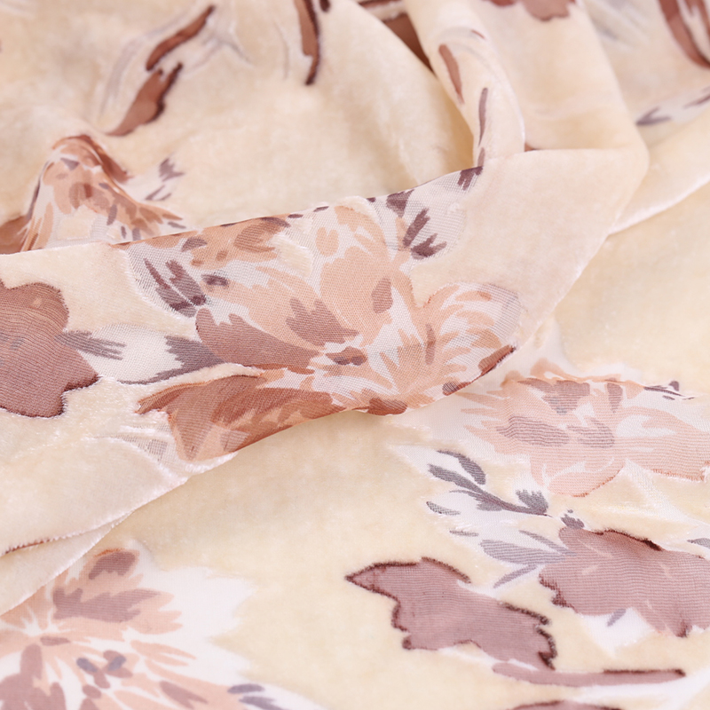 Двухцветная шелковая бархатная ткань с цветочным принтом