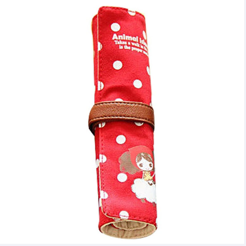 Amazon Hot Canvas Roll Pencil Pen Bag Student Printing Pencil Shade Promotional Gift Stationery Pen Bag