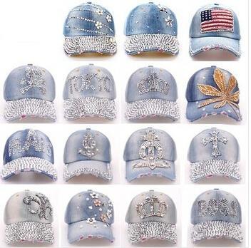 Хлопок джинсовый шапки женщины горный хрусталь алмаз бейсбол кепка леди джинсовый лето шляпа снэпбэк шапки