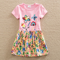 2016 retail BABY Girl Clothes short Sleeve Girls Dress Kids pretty Dresses A line children clothing