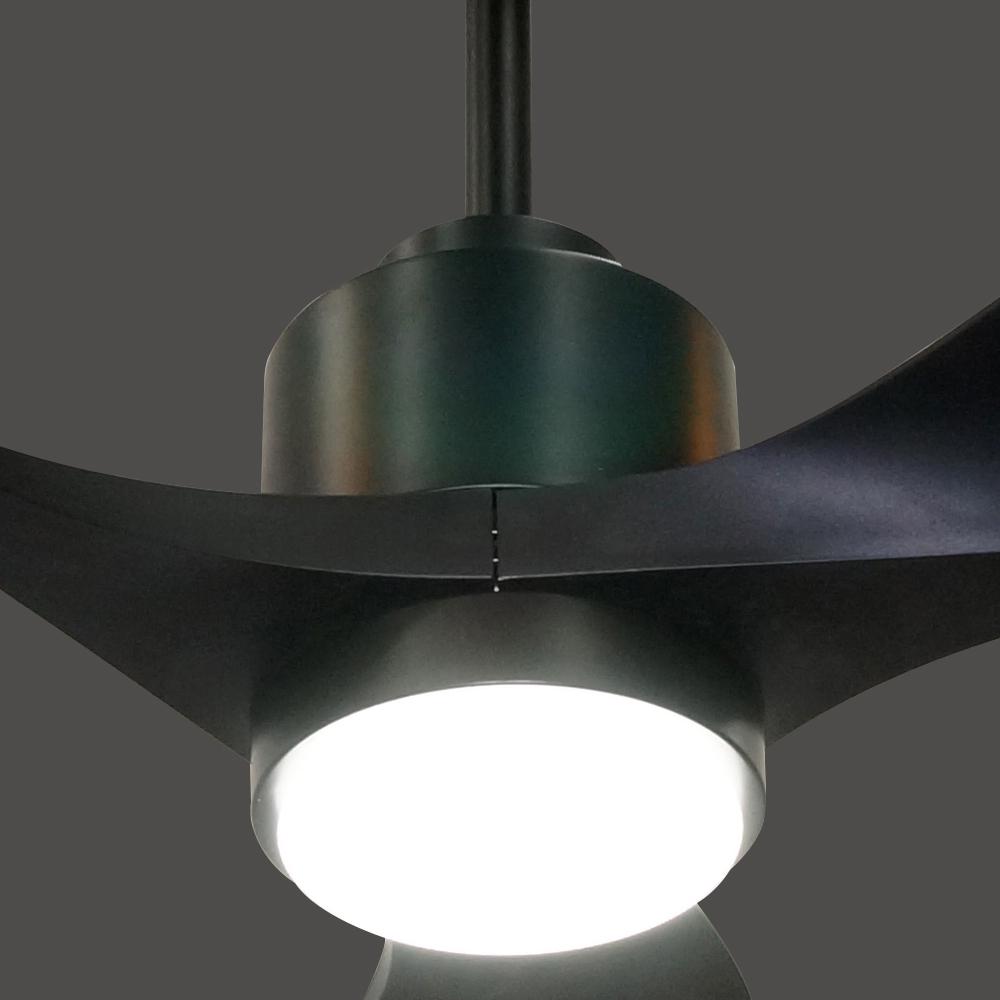 1Stshine высокое качество об/мин природный ветер черный 56 'ABS пластиковый лопастной двигатель постоянного тока потолочный вентилятор со светодиодной подсветкой