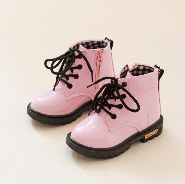 ed8369102e435 Kids PU Leather Boots Teen Boys Girls Spring Shoes Children Martin  Motorcycle Boots Chaussure Enfant Waterproof Ankle Rain Boots - us316