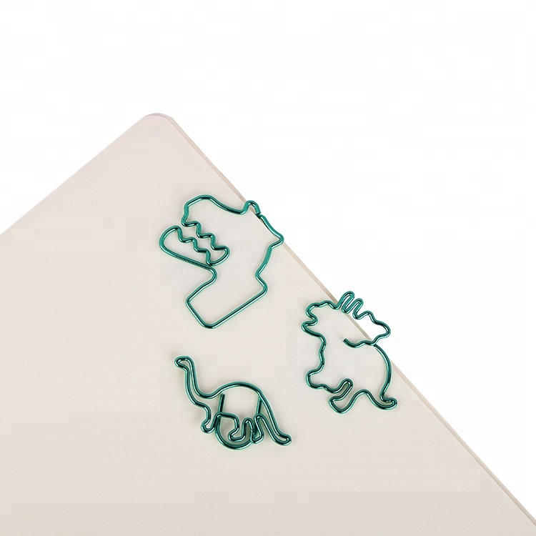 Creative metal Dinosaur series green color paper clips Home office Library paper clip