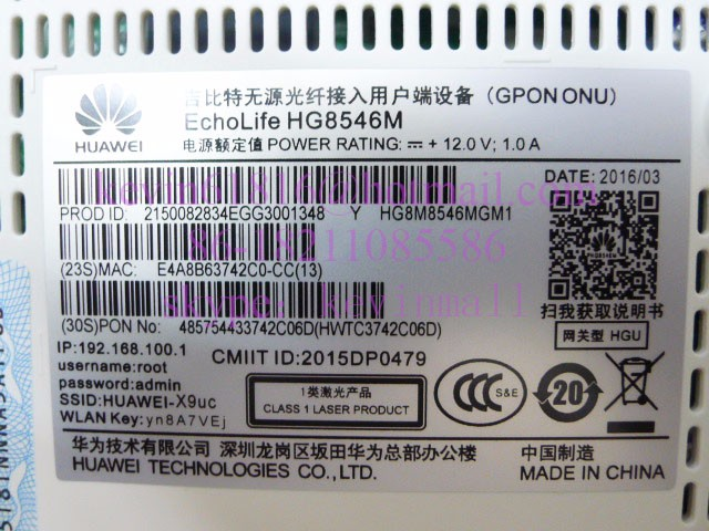 Huawei GPON ONU HG8546M with 4*LAN ports+1*phone port+wifi, HG8546M with  wireless function 801 11BGN