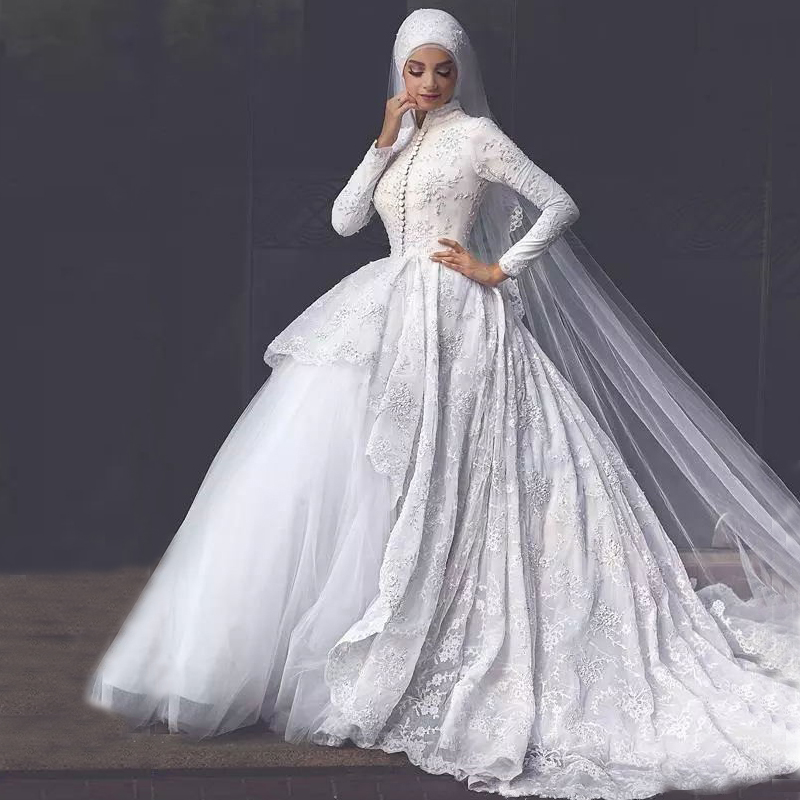 White Column Ball Gown Muslim Bridal Wedding Dress View Muslim Wedding Dress Oem Product Details From Suzhou Jinchang Eiwel Wedding Dress Factory On Alibaba Com