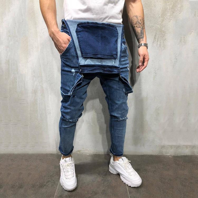 Мужские байкерские джинсовые комбинезоны, брюки, облегающие длинные джинсовые комбинезоны, мужской комбинезон, эластичный комбинезон в европейском стиле, новый стиль, США, рваные джинсы