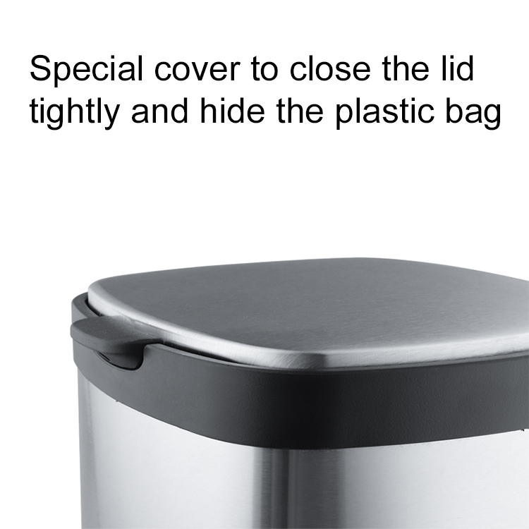 Indoor 6L 12L 20L stainless steel hotel room trash can and Office household kitchen trash can and waterproof bathroom trash can