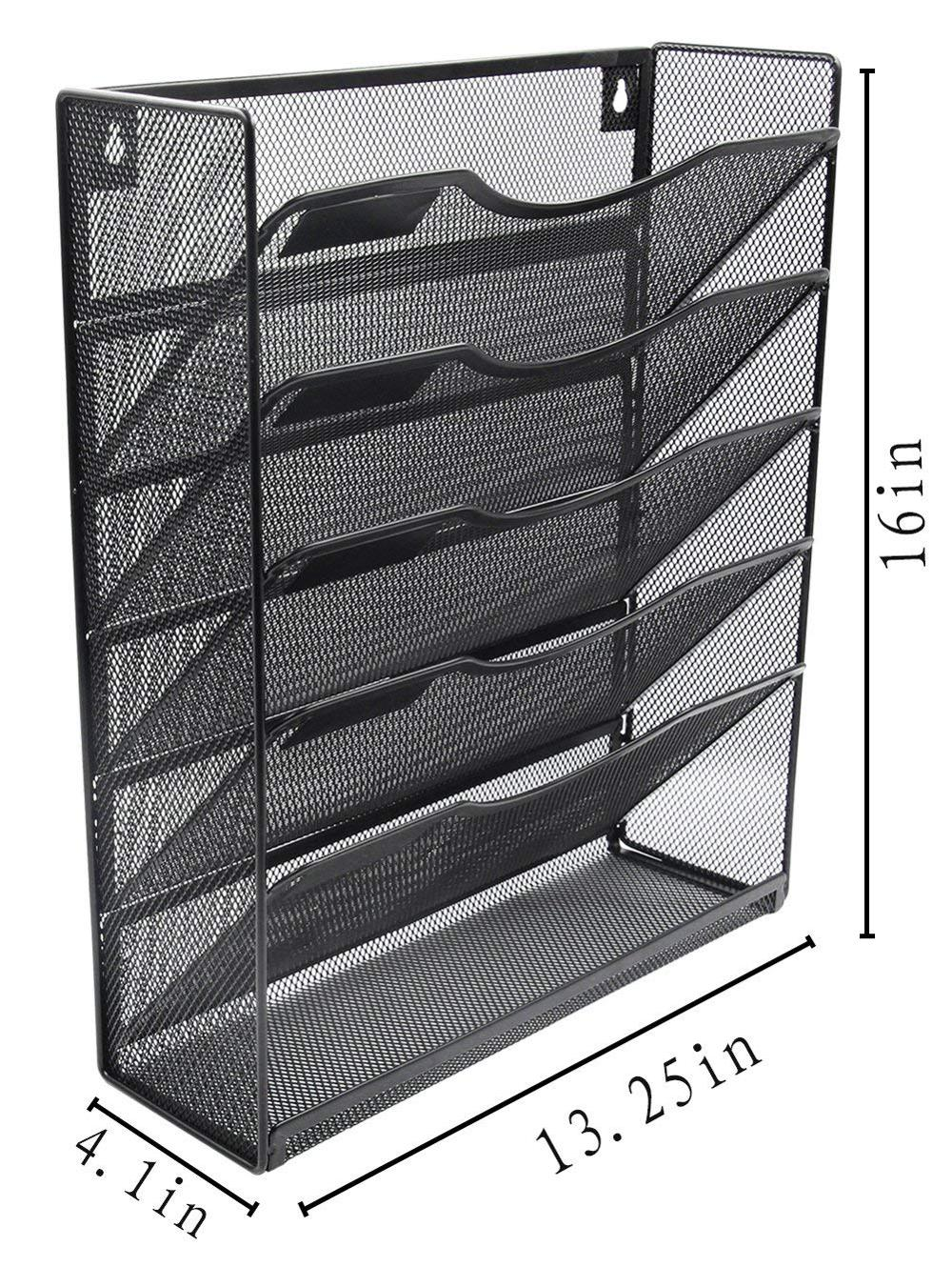 Wideny office supply black metal mesh hanging wall mount mounted organizer file holder for document