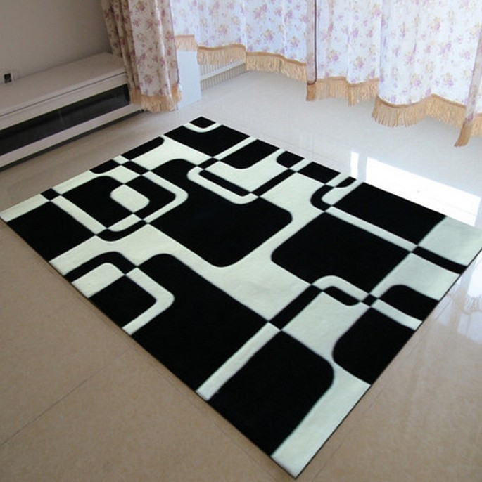 Classical black and white carpet manual acrylic living - Black and white living room rug ...