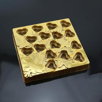 Custom Heart Shape Golden Chocolate Plastic Packaging Vacuum Forming Tray