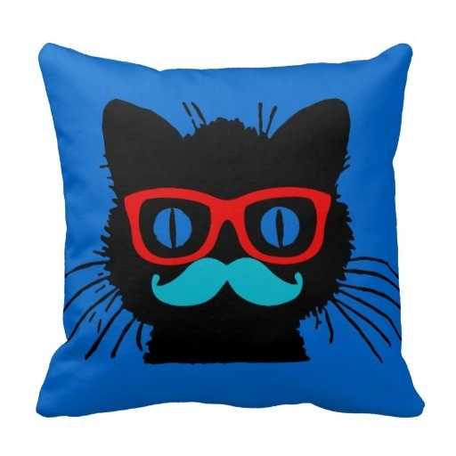 Surprised Hipster Cat Pillow Case With Glasses And Mustache (Size: 45x45cm) Free Shipping