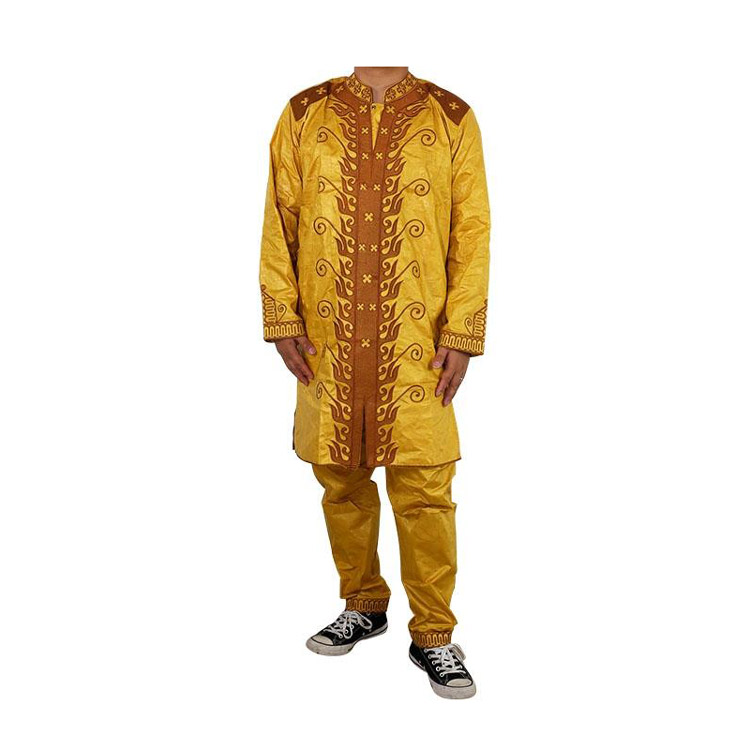 Queency 2019 Customized Bazin Riche Clothing Men Dashiki Plus Size Men Suit Fashion Traditional African Clothing