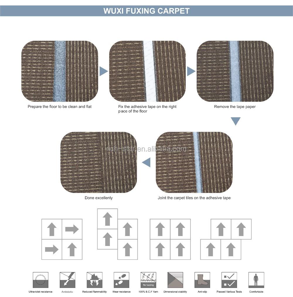 Non Slip Pvc Back Office Modular Nylon Tile Carpet Tile