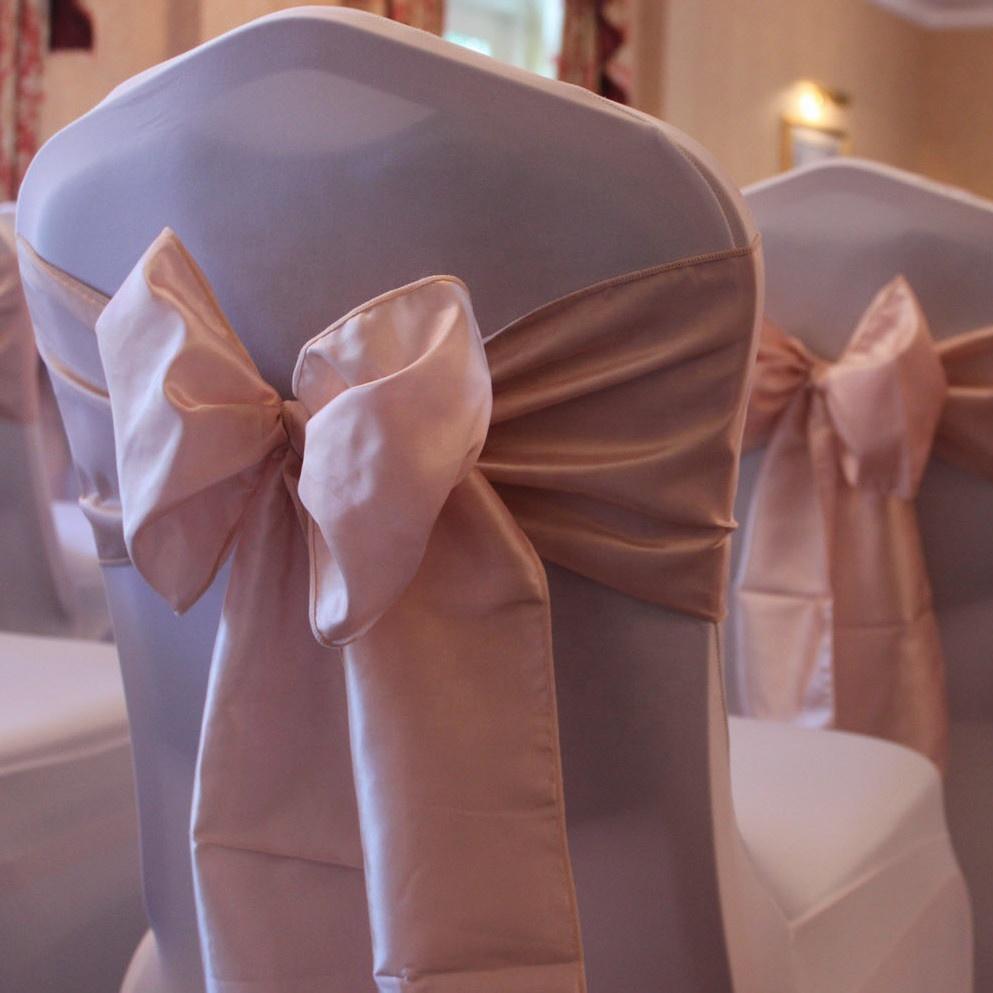 factory price rose gold satin chair sash for wedding