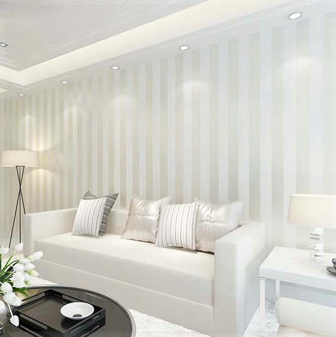 Modern 10M Roll Non Woven Simple Wide Stripe Wallpaper