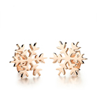 Rose Stud Earrings Rose Tone Snowflake Laser Cutting Stud Stainless Steel Earrings