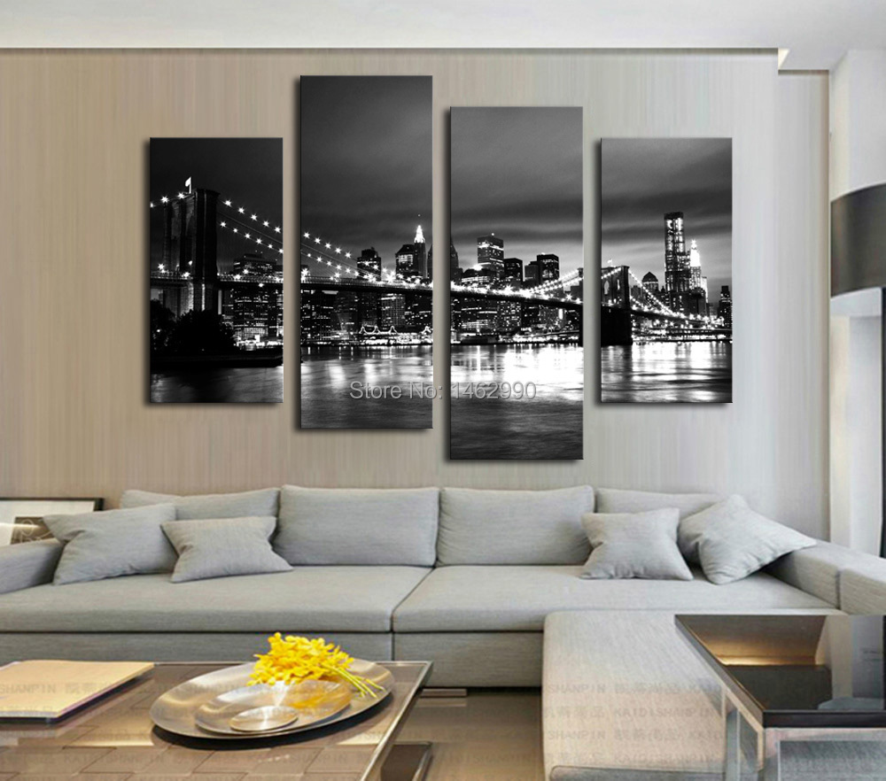 not framed canvas print canvas painting new york brooklyn bridge home decoration poster wall. Black Bedroom Furniture Sets. Home Design Ideas