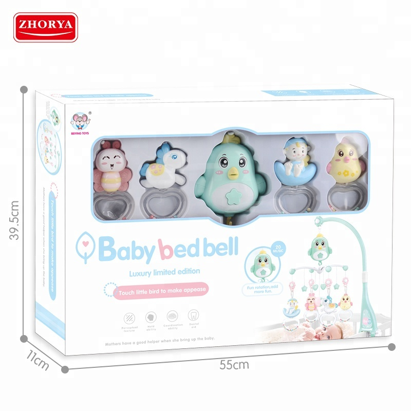 Electric animal 360 degree rotation sleep baby musical bed bell mobile toy with rattle teether