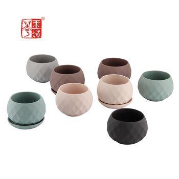 Diamond cutting design matte mini home decor ceramic planters succulent pot / garden decor pots for plants