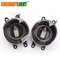 CNSUNNYLIGHT Led Car Front Fog Lamps DRL Turn Signal w Angel Eyes Replace for Original Fog