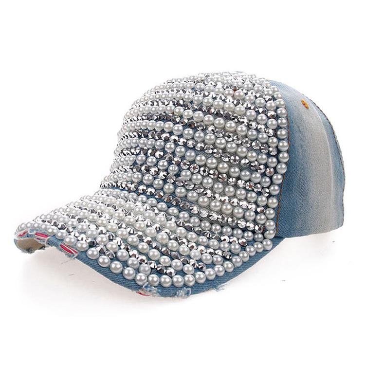 Wholesale Fashion Diamond Pearl Cowboy Hat Women Denim