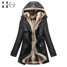 HEEGRAND Faux Fur Thick Lining Long Winter Jacket Women Hooded Windshield Zipper Sashes Parka Plus Size 3XL Manteau Femme WWM056
