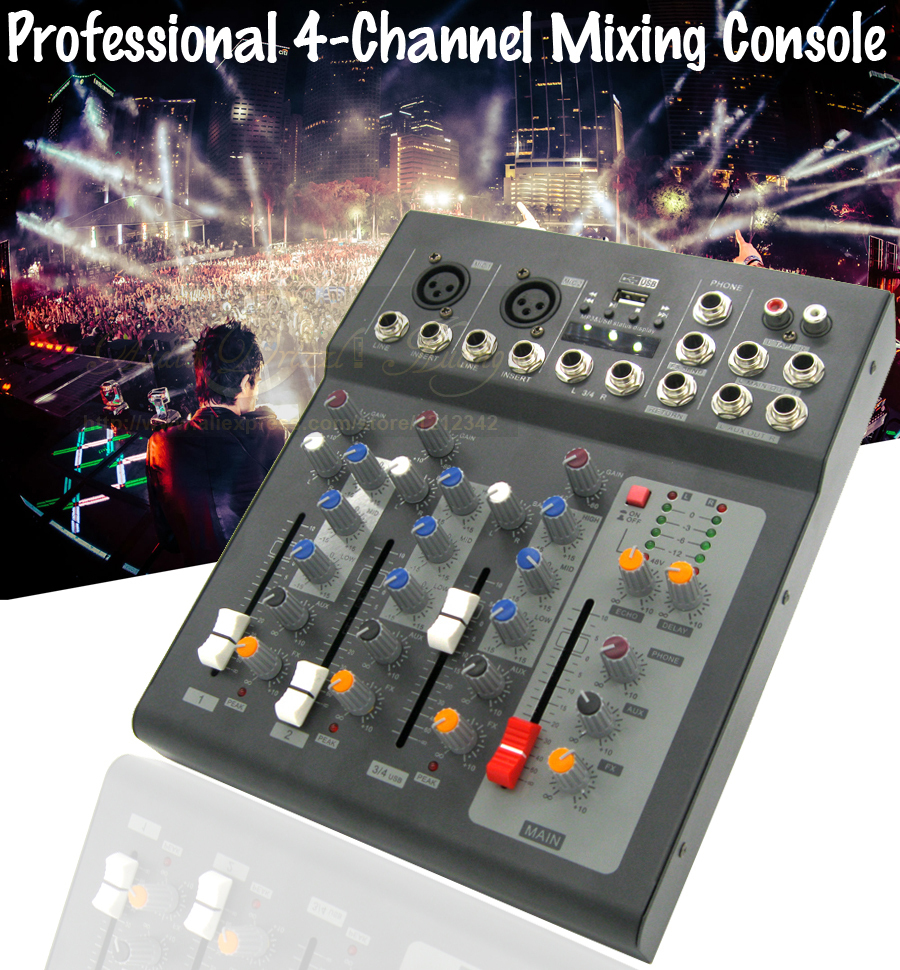 professional 4 channel 48v power usb microphone audio mixer console digital stereo sound effect. Black Bedroom Furniture Sets. Home Design Ideas