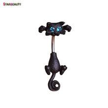 Starbeauty кольцо для пупка черного кота, Хрустальный пирсинг Ombligo, Колечки для пупка с синим глазом, ювелирные изделия для тела, пирсинг(Китай)