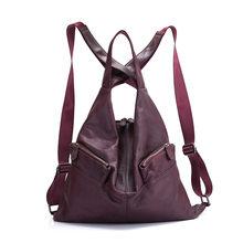 Женский рюкзак Zency, черный, из 100% натуральной воловьей кожи, для путешествий(Китай)