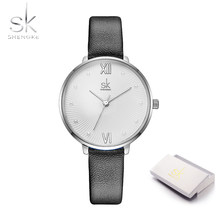 Женские кварцевые часы Shengke, повседневные часы с жемчужным циферблатом, белые кожаные женские часы Reloj Mujer, подарок на день, 2019(Китай)