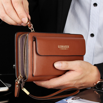 LEINASEN Luxury Brand Purse Double Zipper Business Male Big Capacity Phone Card Hoder Money Clip Long Leather Men Clutch Bag
