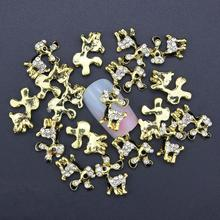 10 Pcs Glitter Gold Black Cute Dog 3D Rhinestones For Nail Art Decorations On Gel Polish