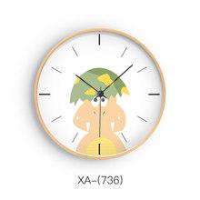Современные беззвучные часы из цельного дерева Kawaii с изображением животных, настенные часы с принтом, дизайн рамки, электронные часы, декор ...(Китай)
