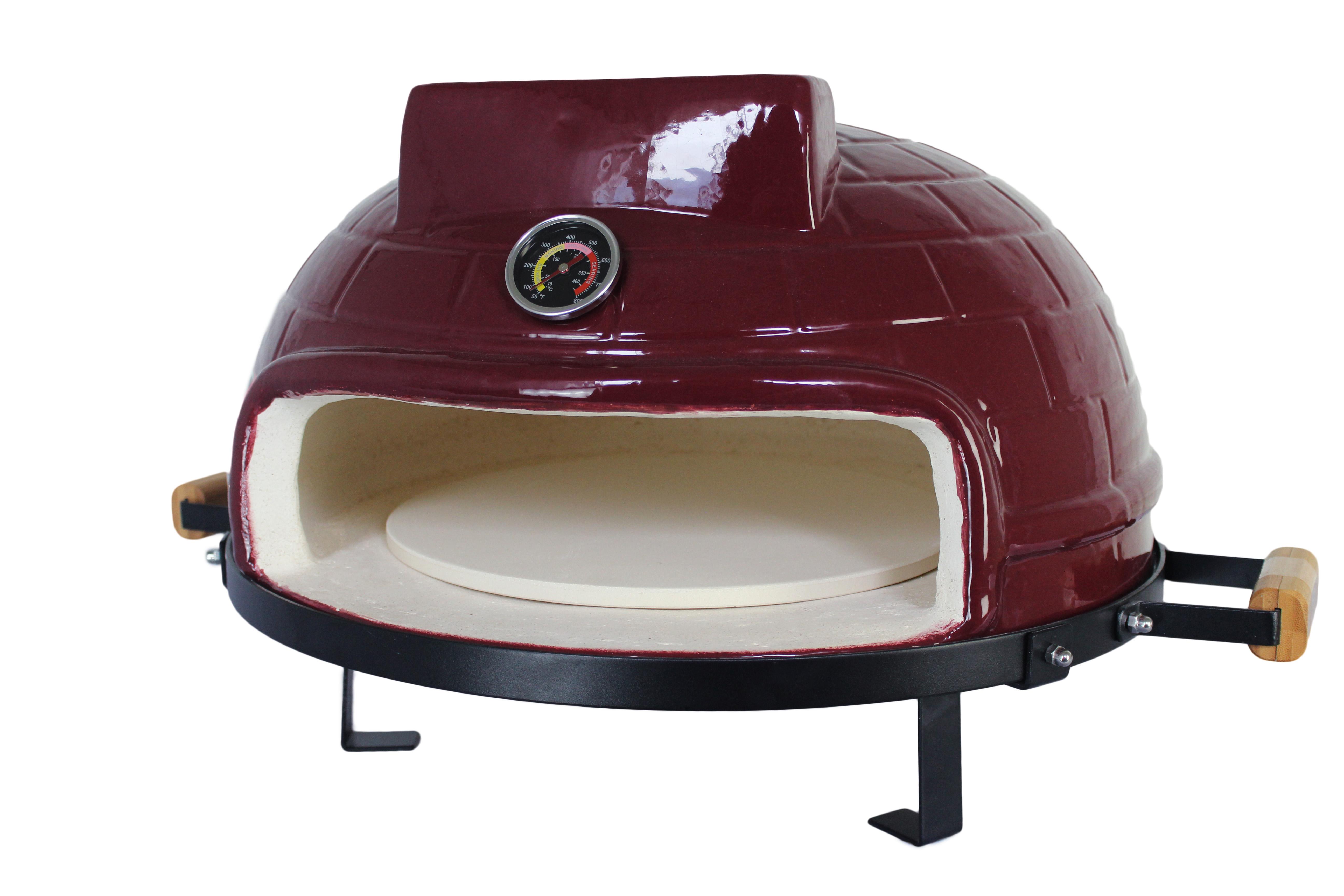 21inch brown wholesale Versatile Charcoal pizza oven, Ceramic Pizza Oven for versatile
