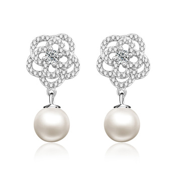 925 sterling silver camellia flower pearl drop earrings 2019 custom jewelry
