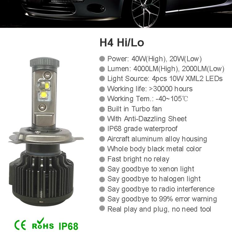New H4 CREE LED Motorcycle Headlight Bulb 4000LM 40W HiLo 20W Low Beam Conversion Kit 3000K 4300K 6000K DC 12V P43T Headlamp (17)