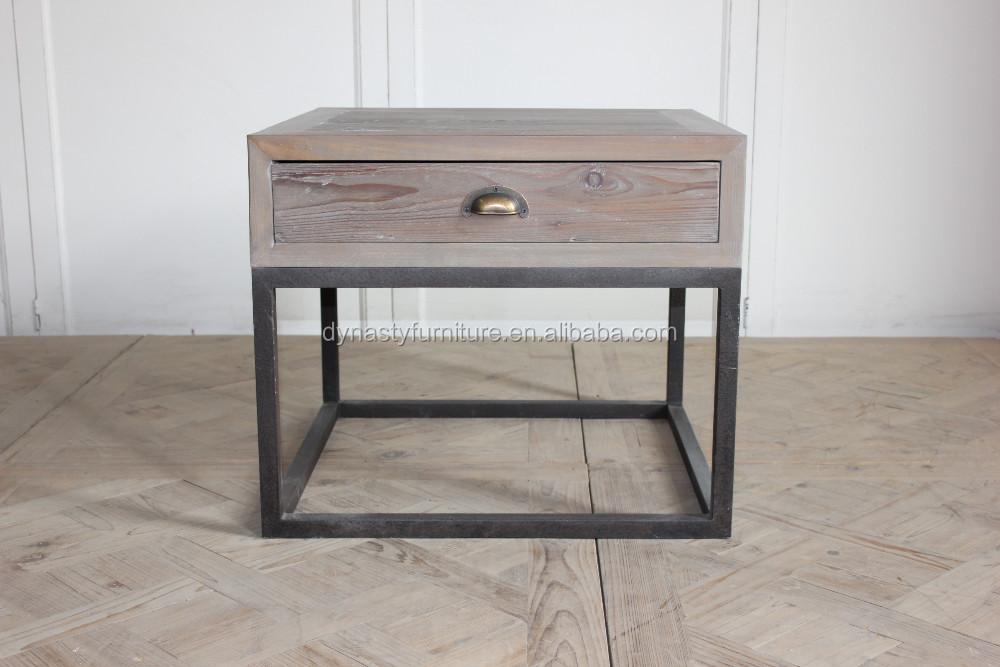 salon mobilier industriel en bois tiroir avec table d 39 appoint en m tal table en bois id de. Black Bedroom Furniture Sets. Home Design Ideas